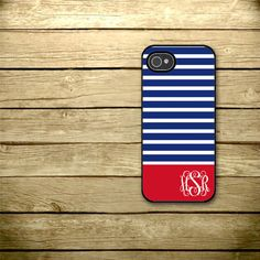 Everything a phone case should be: red, blue and monogrammed.