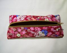 Handmade Scented Red Floral Pencil Case, Pencil pouch, unisex, gadget case, zippered, back to school