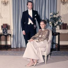 Prince Albert and Princess Paola at the Belgian Embassy in London in 1968.