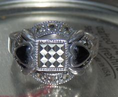 VINTAGE Marcasite W/ Black Onyx Heart acc. Cocktail Ring, size 7 - 925 Sterling Silver