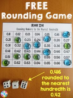 This FREE rounding decimals game worked great in my math centers! The game board for rounding decimals to the nearest hundredth was excellent practice for both my 5th graders and 6th graders.