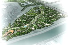 Landscape design and landscape planning for Katara Forest Park, Doha, Qatar by Chris Glasson Landscape Architects. The design for this 50ha park will be a mix of topographical features, stream with ponds and falls; trees and shrubland; and a complexity of small spaces with paths to encourage adventure. A retreat from the world to a cool oasis which will foster harmony and enjoyment. The naturalistic forms celebrate the sound and sight of water, emphasises the spirit of harmony in nature. Landscape Plans, Landscape Design, Christchurch New Zealand, Landscape Architects, Forest Park, Doha, Ponds, Design Projects, Oasis