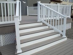 Love this- two tone opaque deck stain in gray and white!… Love this- two tone opaque deck stain in gray and white! Love this- two tone opaque deck stain in gray and white! Vinyl Railing, Deck Railings, Wood Railing, Decking Fence, Vinyl Fencing, Wpc Decking, Deck Steps, Porch Steps, Deck Gate