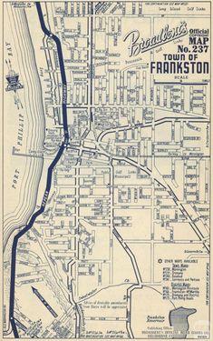 Map Frankston, 1949 Melbourne Map, Melbourne Suburbs, Melbourne Victoria, Victoria Australia, Melbourne Australia, Map Long Island, Big Island, Vintage Maps, Vintage Posters