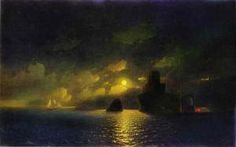 Moonlit Night, Oil by Ivan Aivazovsky Ukraine) Pictures Of The Sun, Night Pictures, Hand Painting Art, Online Painting, Nocturne, Stranger Things Have Happened, Free Art Prints, Fantasy Landscape, Beautiful Paintings