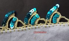 Pullu-yeni-oya-modeli-aciklamali Crochet Edging Patterns, Crochet Borders, Embroidery Neck Designs, Crewel Embroidery, Crochet Doilies, Crochet Lace, Tatting Necklace, Saree Kuchu Designs, Crochet Videos