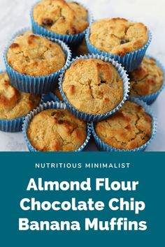 Almond flour banana chocolate chip muffins recipe. A simple and healthy gluten-free breakfast or snack option . Bake a batch ahead of time for a busy week. Muffin Recipes, Cupcake Recipes, Baking Recipes, Flour Recipes, Bar Recipes, Almond Recipes, Keto Recipes, Dessert Recipes, Healthy Recipes