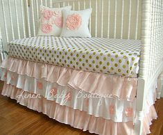 Ready To Ship Baby Bedding. Includes Blush/Peach by LinenBaby, $268.00 Would like a light pink fitted crib sheet organic cotton, white with gold polka dots crib skirt and a combination of those with maybe a third fabric for curtains for closet and window curtains.