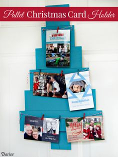 Craft a DIY Christmas card holder out of a Darice wooden pallet Christmas tree. What a simple and cute way to display your cards during the holiday season!