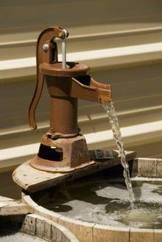 Bucket and faucet fountains can be decorative additions to your landscape. The faucet can be attached to exposed plumbing beside the bucket or it can appear to be suspended above.