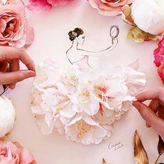 New Fashion Sketches Dresses Art Grace Ciao Ideas Arte Fashion, Floral Fashion, Floral Illustrations, Illustration Sketches, Flower Petals, Flower Art, Grace Ciao, Moda 3d, Arte Floral