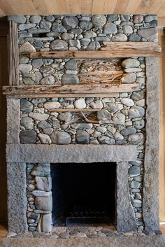 Stone Fireplace by Lew French Cabin Fireplace, Stove Fireplace, Fireplace Mantles, River Rock Fireplaces, Stone Fireplace Designs, Stone Masonry, Gabion Stone, Stone Houses, Stone Work