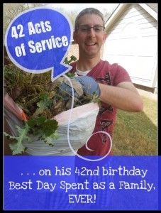 """Pennies of Time: A Guy's 42 Acts of Service on His Birthday! The """"Pennies of Time"""" Dad spent a day with his family completing acts of service. Check out what those 42 acts were. This seriously made my day. Going to try some of these. Small Acts Of Kindness, Kindness Matters, Kindness Ideas, Community Service Projects, Teaching Kids, Visiting Teaching, Helping Others, Compassion, Fun Activities"""