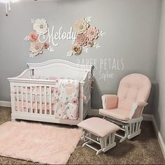 Mildred Rodriguez-pena added a photo of their purchase Baby Girl Nursery Decor, Baby Bedroom, Nursery Wall Decor, Baby Room Decor, Nursery Room, Floral Nursery, Nursery Ideas, Pink And Gray Nursery, Boho Nursery