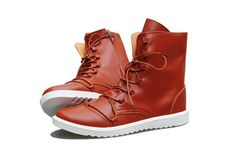 Trendy PU Leather and Round Toe Design Matin Boots For Men