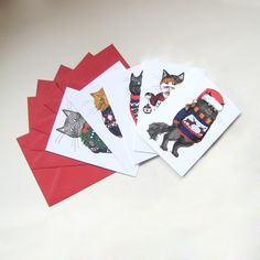 Christmas Cat Cards set of 5 Cats in Jumpers by zyzanna on Etsy
