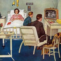 Marmont Hill Baseball in the Hospital Amos Sewell Painting Print on Canvas 48 x 48 Home Decor Wall Decor Paintings and Prints Photo Vintage, Art Vintage, Retro Art, Vintage Images, Vintage Posters, Art And Illustration, Illustrations Vintage, Retro Kunst, Norman Rockwell Art