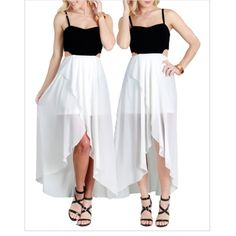 ❗️ Final Markdown❗️Hi/lo dress with side cut outs Brand NWOT black/off white hi/lo dress with side cut outs and exposed zipper. Just took out of package to take pictures. Super cute! Black top is textured and off white bottom has a crepe like feel and is see through. Size Small = 0-2, Medium = 4-6, Large = 8-10 approximately. ⭐️Price firm unless bundling, no offers please⭐️ Dresses High Low