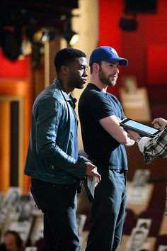 Chris Evans & Chad Boseman rehearsing for the Academy Awards Los Angeles, California on Saturday, February 2016 I Understood That Reference, Chris Evans, Avengers, Handsome, Men Casual, Marvel, Couple Photos, Mens Tops, Hubba Hubba
