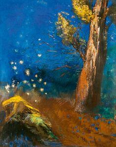 "amare-habeo: "" Odilon Redon - - The Death of Budha (La Mort de Bouddha), 1899 Pastell on paper Fondation Beyeler, Basel, Swithzerland "" Buddha, Antoine Bourdelle, Odilon Redon, Illustration Art, Illustrations, Mystique, Pastel Drawing, Moma, Matisse"
