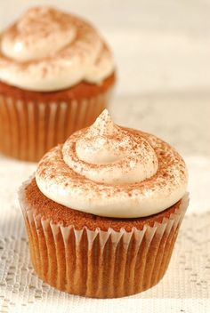"Pumpkin ""Constant Comment"" Cupcakes: To get you in the mood for Fall, try these moist and delicious cupcakes that are lightly spiced with the flavor of Bigelow Constant Comment Tea."