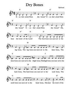 Free Sheet Music - Free Lead Sheet - Dry Bones - African American Spiritual