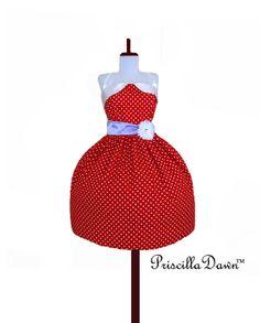 Red Polkadot Rockabilly Dress Betty with Purple by priscilladawn, $175.00