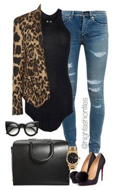 """""""Fall In"""" by highfashionfiles ❤ liked on Polyvore featuring Yves Saint Laurent, Rick Owens, Balmain, Maison Margiela and Rolex"""