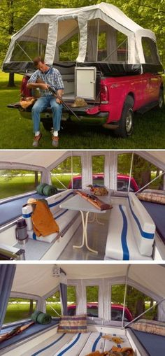 Truck tent - use idea of seating in center to make fold out center bed w hinges and 2x4 slide out supports. (?)