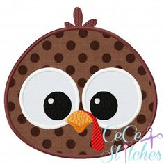 Turkey Boy Face Fall Applique Design by sapphiremommy on Etsy