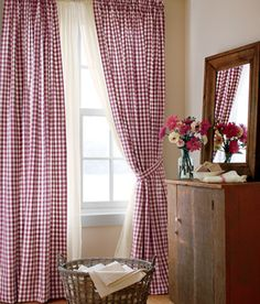 Living Room Curtains Cabin Check Burgundy Color Rod Pocket