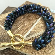 Blue Bracelet made with Magatama Beads Size 6 1/2 by WildBeadWoman