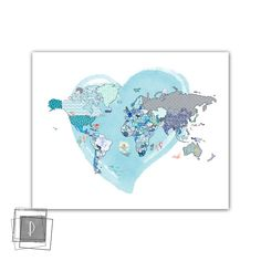 Kids Poster with World Map with Animals in a watercolored heart , Print, Nursery World Map, Kids Room Decor, ArtWall Childroom, pastels Printable Art, Printables, Kids World Map, Nursery World, Pastel Colors, Pastels, Kids Poster, Mixed Media Collage, Unique Art