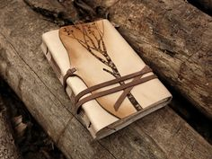 Leather Journal, Notebook, Diary in Brown and Beige with Vintage Style Old Paper - Memories of a Tree from Medieval Journey. Saved to Books & Handmade. Leather Notebook, Leather Journal, Leather Books, Journal Notebook, Journals, Notebooks, Handmade Books, Handmade Notebook, Leather Pieces