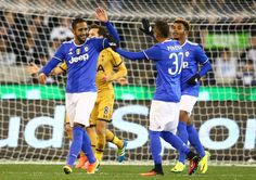XX Medhi Benatia of Juventus FC celebrates after scoring a goal during the 2016 International Champions Cup match between Juventus FC and Tottenham Hotspur at Melbourne Cricket Ground on July 26, 2016 in Melbourne, Australia.