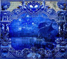 Azulejos at Pavilhão Carlos Lopes, Lisbon Tile Art, Tile Patterns, Lisbon, Portuguese, Blue And White, Deco, Abstract, Artwork, Painting