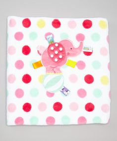 Another great find on #zulily! 30'' x 40'' Pink Polka Dot Elephant Receiving Blanket #zulilyfinds