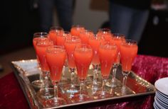 """Cranberry Orange Twist Mimosa ( with or without alcohol..)  These sound wonderful and simple...and oh so pretty for a party  ( see more drink ideas on my board """"drinks and be merry """" !)"""