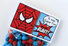 "Superhero Collection (Spiderman). Favor Tags (5"" fold over). DIY Printable Design. Pinkadot Shop"