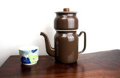 Vintage GHC, General Housewares Corp Enamelware Brown Finesse Drip Coffee Maker, Enameled Steel,  1960s Mid Century Modern Enamelware 240008
