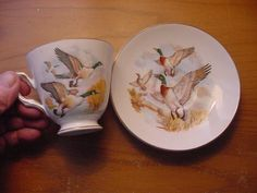 "Royal Tara Bone China Cup and Saucer ""Ducks in Flight"" Made in Ireland 