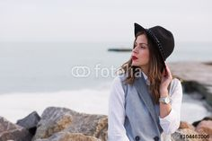 Lonely girl by the sea