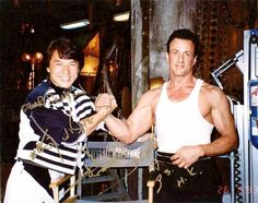 Jackie Chan and Sylvester Stallone. Two of my favorite actors! Jackie Chan, Martial Arts Movies, Martial Artists, Bruce Lee, Karate, Instagram Movie, Silvester Stallone, Star Wars, Gorillaz