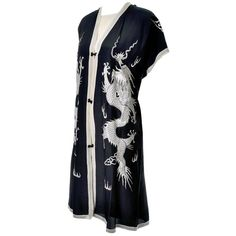 Vintage Chinese Silk Embroidered Dragons Dress and Caftan 2 pc Asian Ensemble | From a collection of rare vintage evening dresses and gowns at https://www.1stdibs.com/fashion/clothing/evening-dresses/