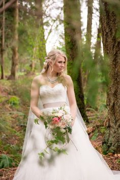 Today's nature inspired west coast shoot has tons of inspiration! In this feature you are going to see lots of natural greens which is perfect since. Forest Scenery, Nature Inspired, Be Perfect, West Coast, Greenery, Florals, One Shoulder Wedding Dress, Brides, Wedding Day