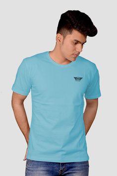 705f945afd53a Shop Downtown Fashion Men s Solid Half Sleeve T-shirt Sky Blue ₹̶4̶9̶9̶ ̶