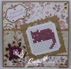 GiBa's Wenskaarten Cross Stitch Cards, Marianne Design, Cat Crafts, Punch Art, Diy Cards, Handicraft, Label, Embroidery, Crossstitch
