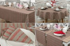 Grey linen table collection decorated with red ornaments.