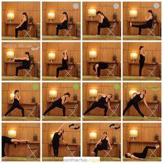 New Ideas For Yoga Principiantes Silla Iyengar Yoga, Ashtanga Yoga, Senior Fitness, Yoga Fitness, Health Education, Physical Education, Yoga For Seniors, Chair Yoga, Desk Yoga