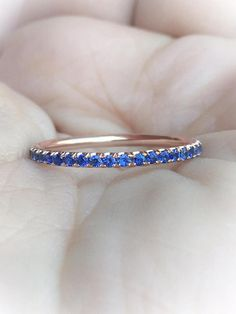 Blue Sapphire Full Eternity Band 1.6mm Rose Gold Sapphire